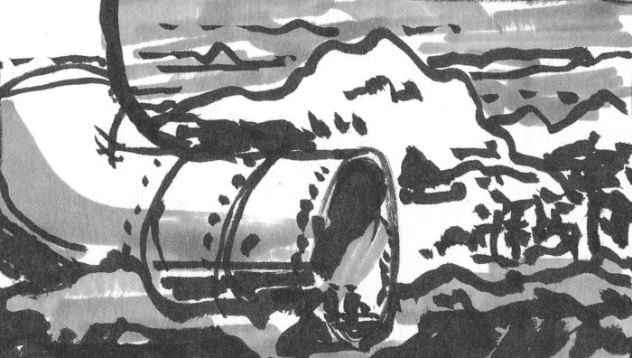 A sketch of a conceptual landscape and building completed using a brush pen and marker.
