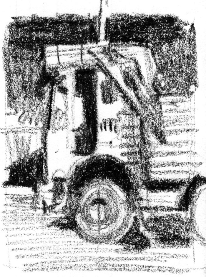 A sketch of a work truck from a photo taken in India. The sketch was drawn with a black Crayola crayon.
