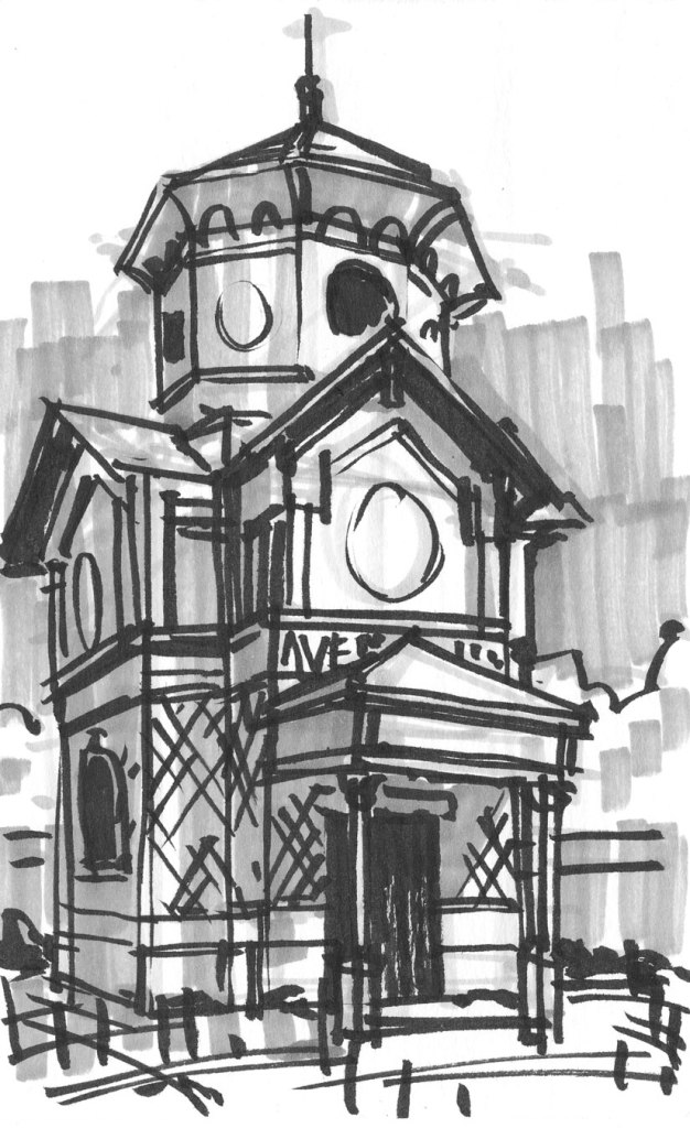 A loose marker sketch of a tall, chapel-like structure with ornamental details.