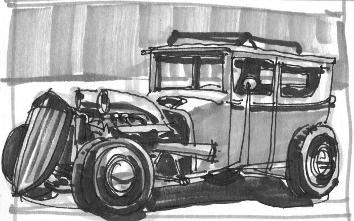A pen and marker sketch of a custom hot rod based off of a photograph.