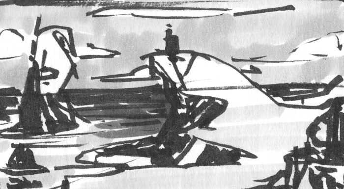 A conceptual landscape sketch of a rocky coastline created using a brush pen and marker.