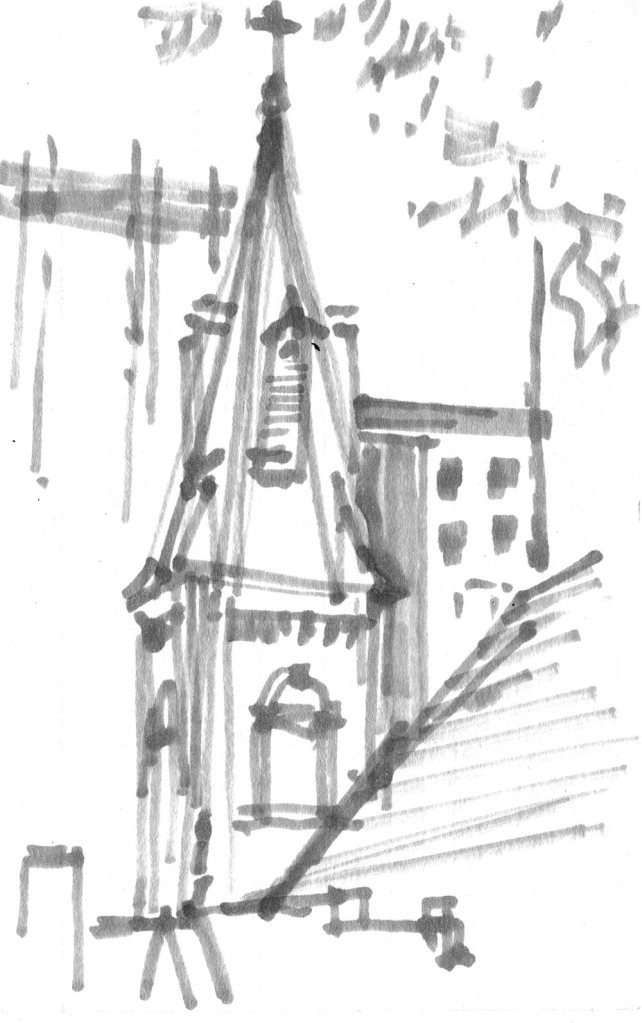 A marker sketch of the steeple at St. Peter Catholic church in Uptown Charlotte, North Carolina.