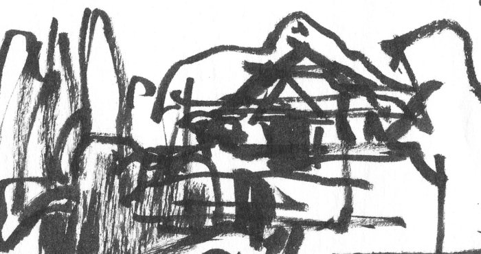 A loose brush pen sketch in black ink with random lines and marks that appear to be a building or structure in a landscape.
