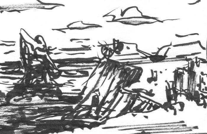 A conceptual landscape sketch of a rocky coastline created using a brush pen.