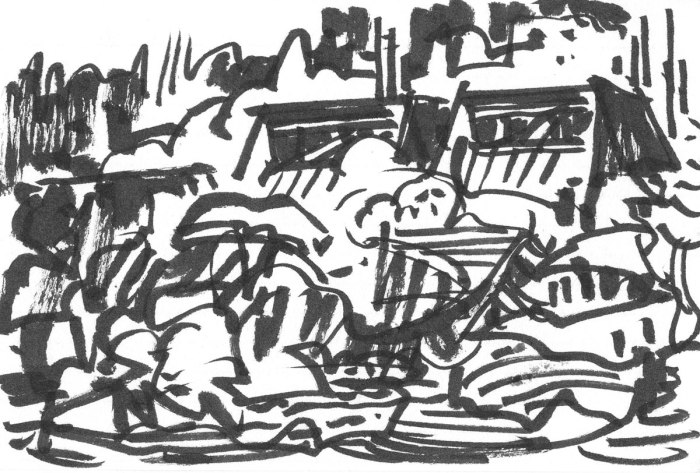 A loose brush pen sketch in black ink with random lines and marks that appear to be buildings in a landscape.