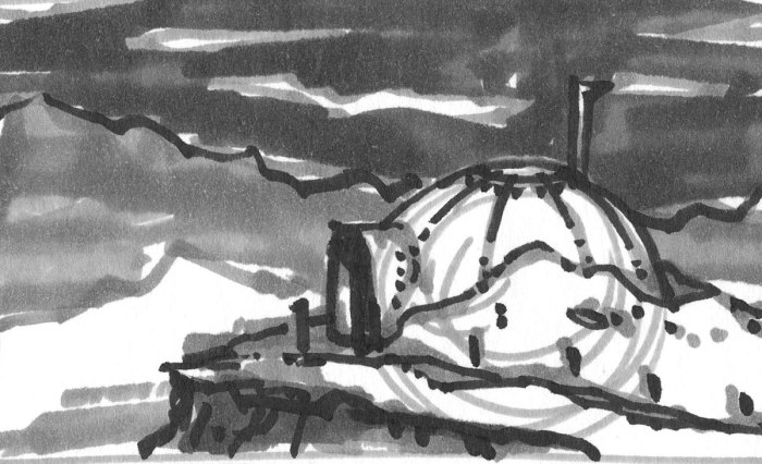 A loose marker sketch of a dome shaped house in a rocky and mountainous landscape.