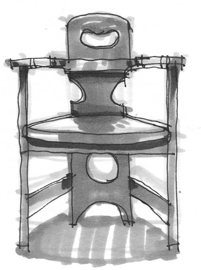 A sketch with black pen and grey marker of a chair by Richard Riemerschmid (Born 1868 - Died 1957).