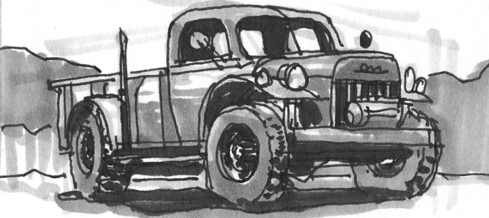This is a loose sketch of an old work truck completed with pen and grey marker.