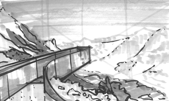 A sketch with grey markers of a curved platform that overlooks mountains and a valley.