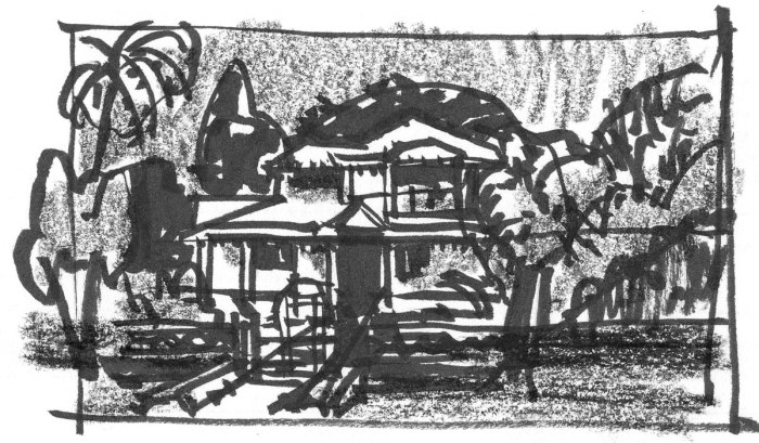 A loose sketch of a house in India, completed with a brush pen with black ink and a black Crayola crayon.