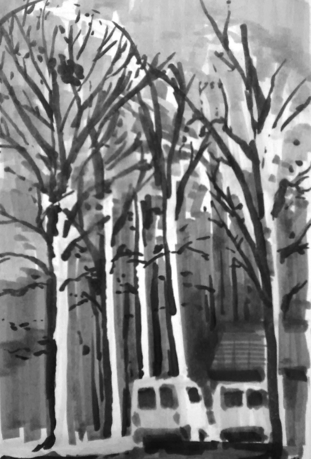 A grey and black marker sketch of two work vans underneath large trees.