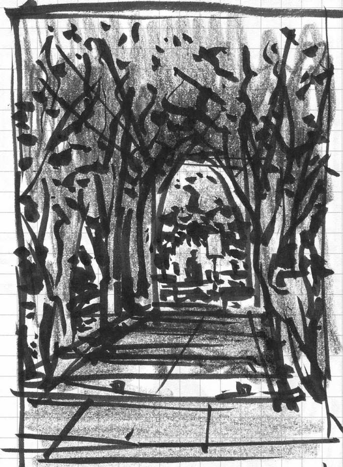 A sketch with a brush pen and crayon of a tunnel created by two rows of crepe myrtles.