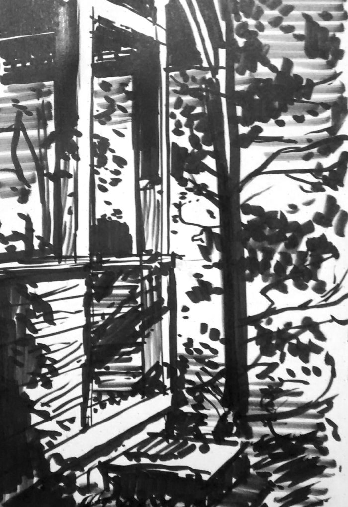 A black marker sketch of a porch with a tree nearby.