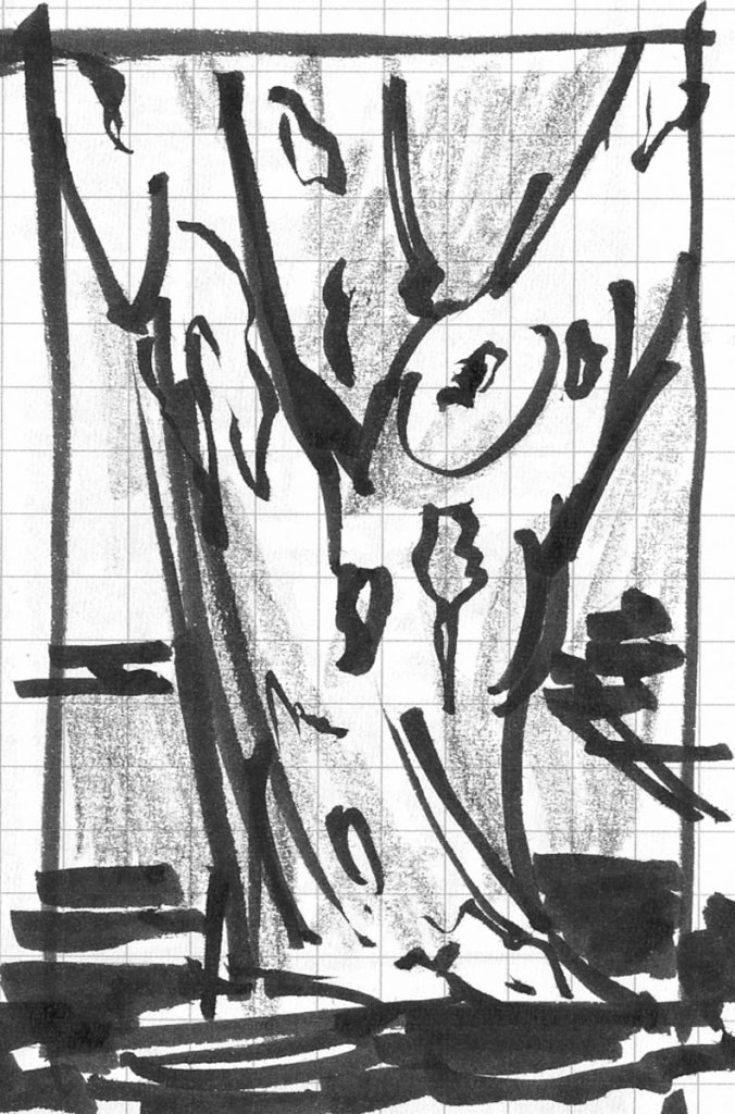 A brush pen and crayon sketch of the base of a crepe myrtle, focusing on the texture and bark.