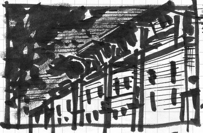 A loose brush pen and crayon sketch of a building facade.