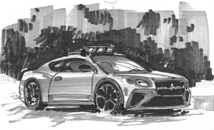A loose greyscale marker sketch of a car driving in snow.