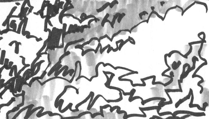 A loose brush pen and marker sketch with random lines and marks that appear to be a landscape.
