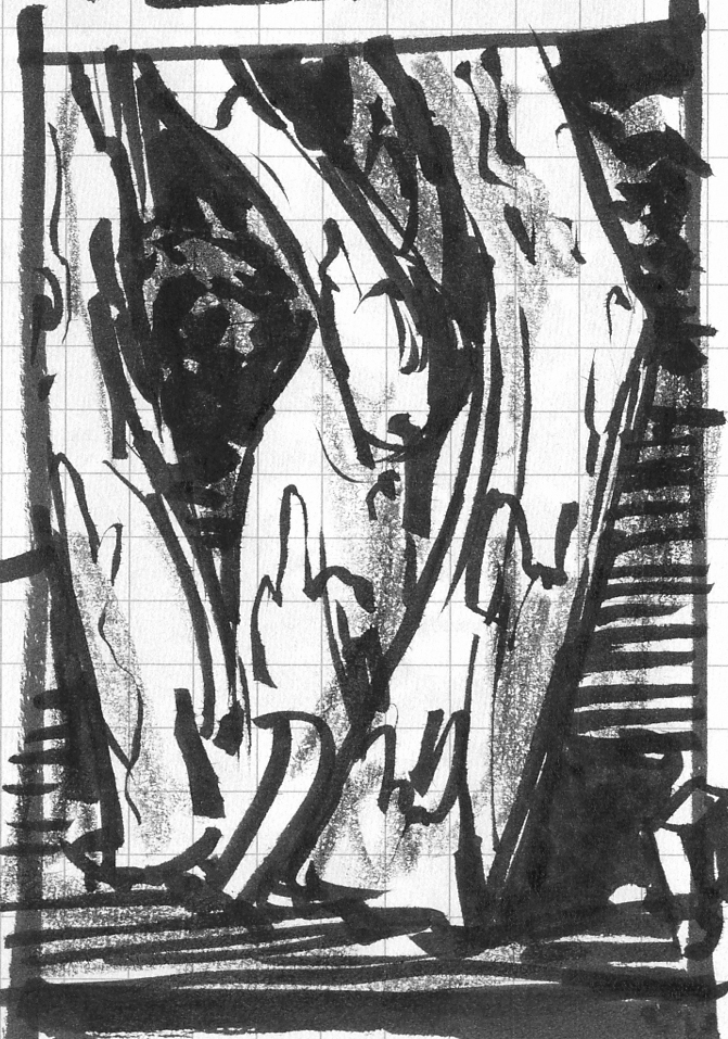 A detail study in brush pen and crayon of the trunk of a crepe myrtle.