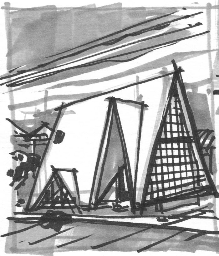 A loose marker sketch of a contemporary A-frame house.