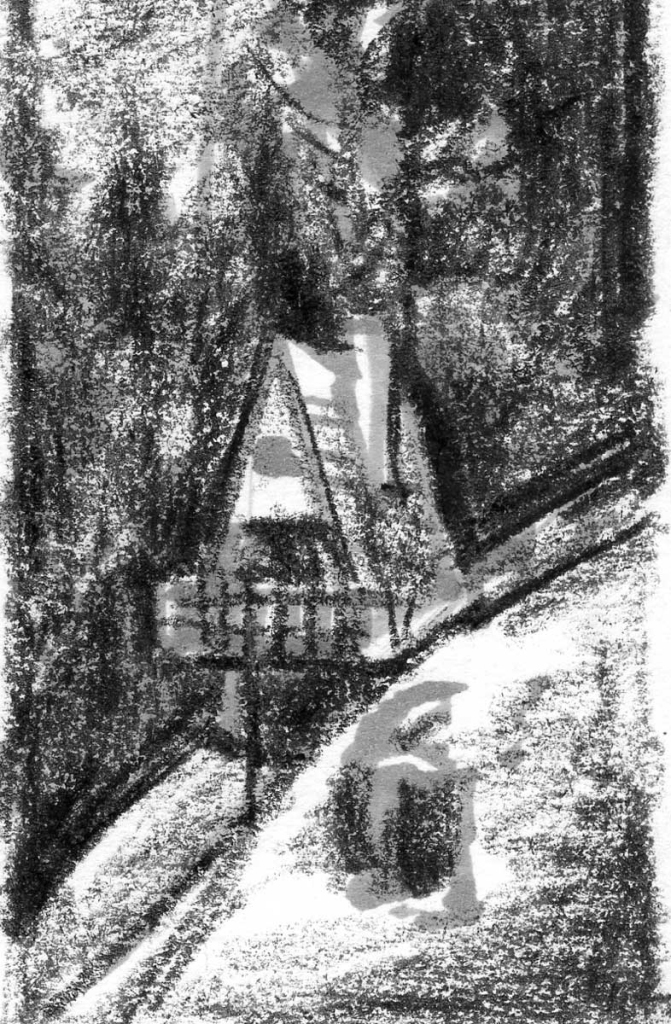 A crayon and marker sketch of an A-frame cabin on the side of a mountain.
