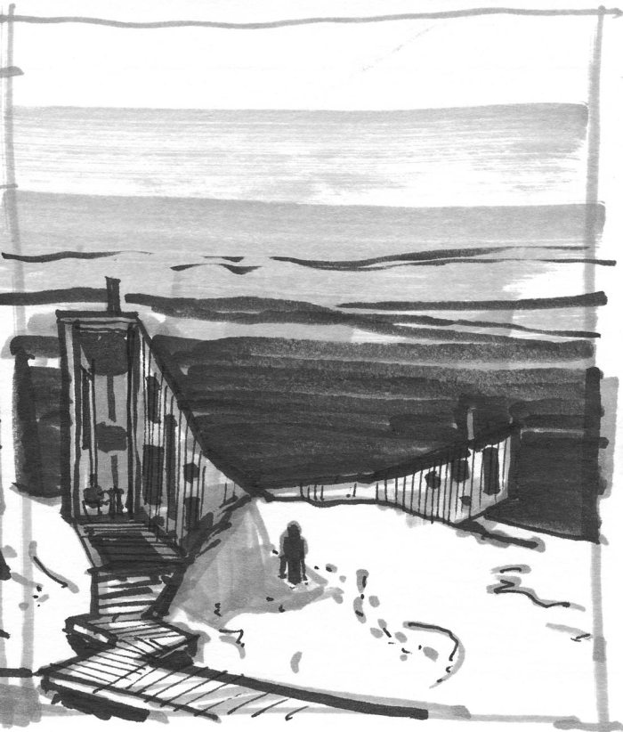 A marker sketch of a minimal building in a landscape.