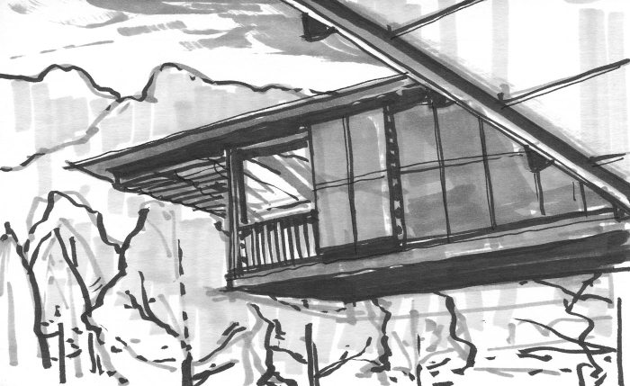 A marker sketch of a cantilevered building in front of the woods.