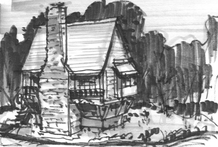 A marker sketch of a rustic home in the woods.