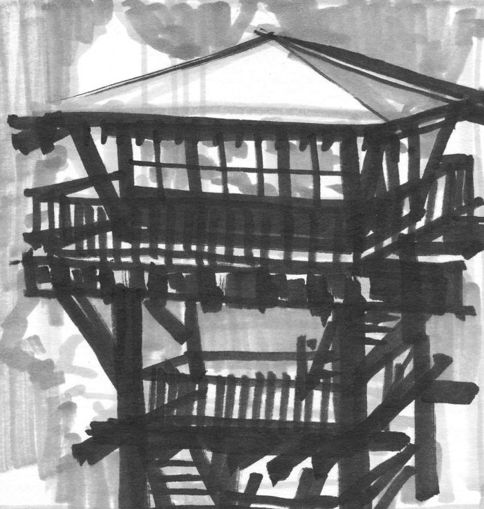 A black and grey sketch of a tower with a small home at the top.