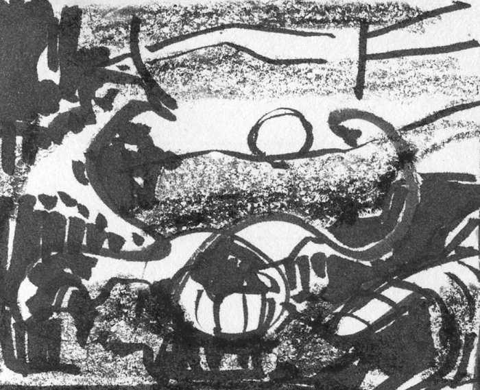 A loose sketch using a brush pen and black crayon to create random lines and marks that appear to be a landscape.
