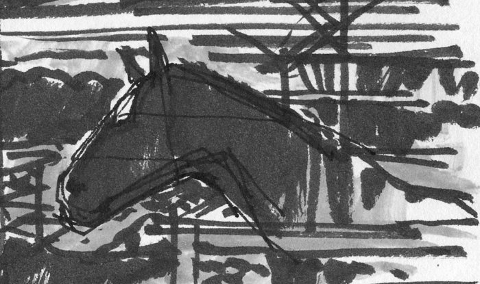 A Pen and marker sketch of a horse leaning over a fence, in front of a mountainous landscape.