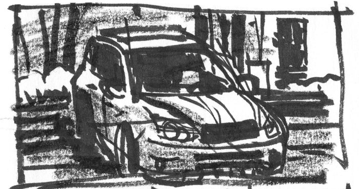 A sketch of a hatchback using a brush pen and a black crayon.