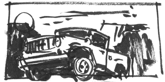 A loose sketch with a brush pen of a truck flying off the ground in front of a desert landscape.