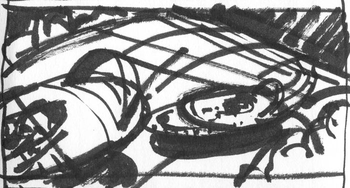 A conceptual landscape with futuristic vehicles flying across the sketch.