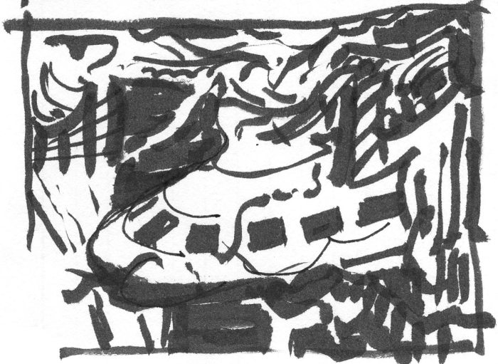 An abstract brush pen sketch with a central element that could be either a building or a ship.