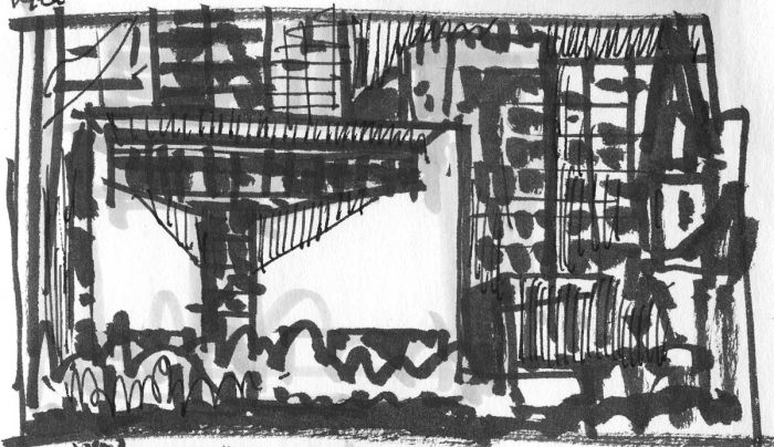 A sketch of the Mint Museum Uptown in Charlotte, NC, using a black pen and brush pen.