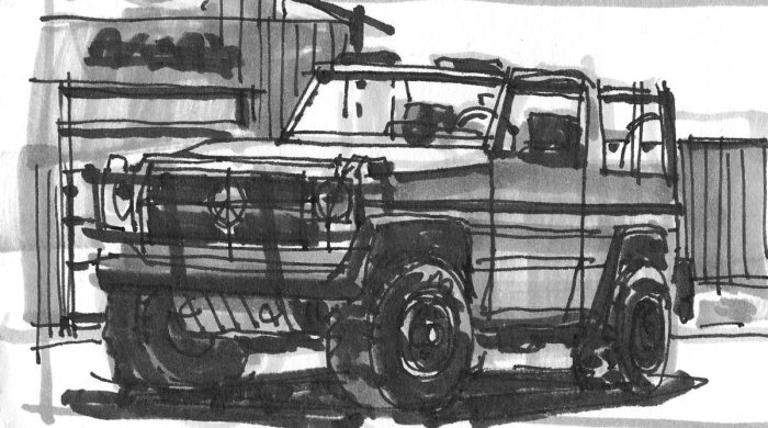 A pen and marker sketch of a Sport Utility Vehicle in front of an industrial building.