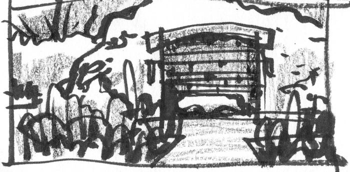 A sketch of a cave entrance using a brush pen and black crayon.