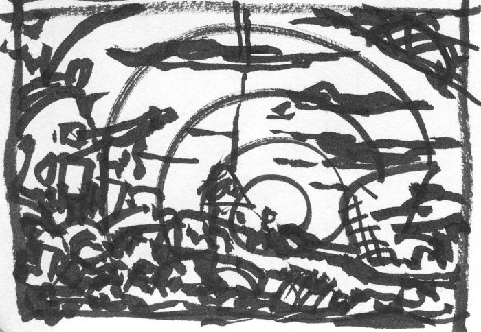 A conceptual landscape created with a brush pen.