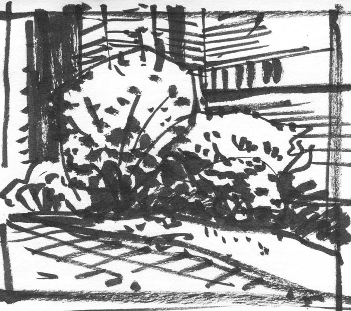 A loose brush pen sketch of shrubbery in front of a brick building.