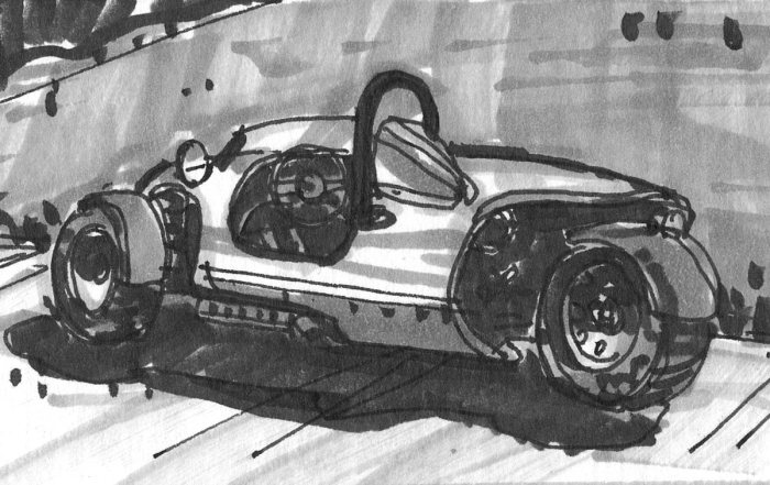 A marker and pen sketch of a three-wheeled, one-seat sports car.