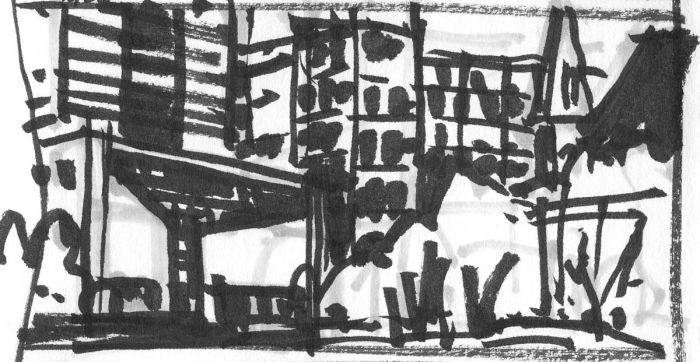 A sketch of the Mint Museum Uptown in Charlotte, NC, using a black brush pen and grey marker.