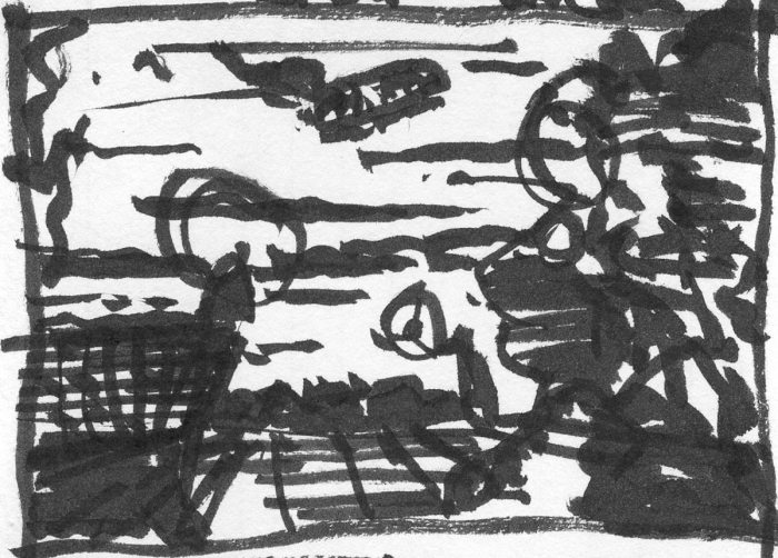 A loose brush pen sketch of a conceptual landscape.