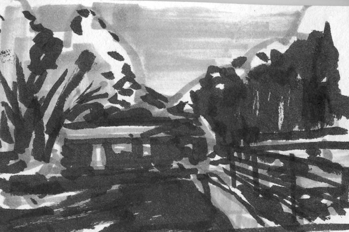 A marker sketch of a cabin in a landscape created with shapes instead of lines, using grey and black markers.