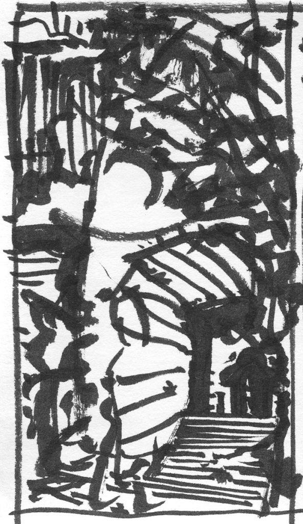 A conceptual brush pen sketch of a landscape and cave entrance.