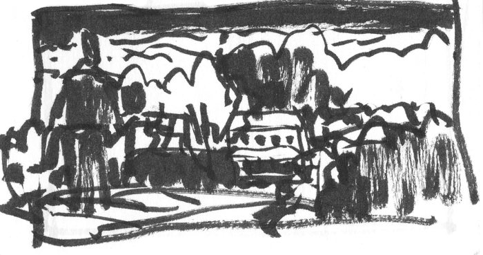 A loose brush pen sketch of a person walking on a path towards a home.
