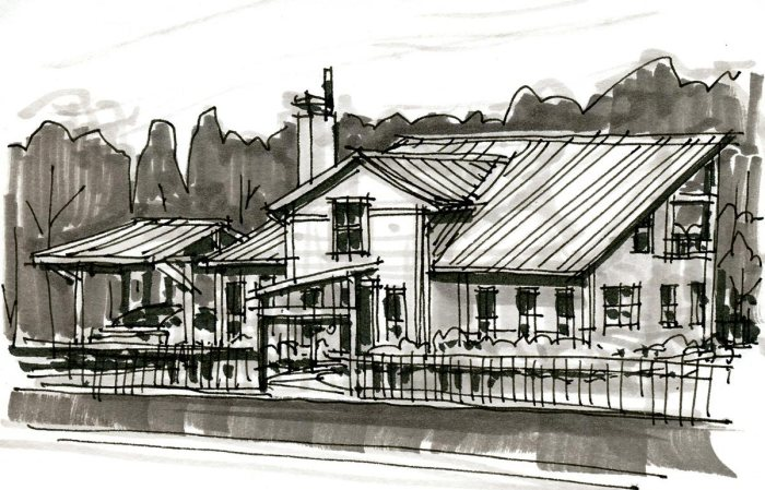 A pen and marker sketch of a conceptual residential how with an entry gate and carport.