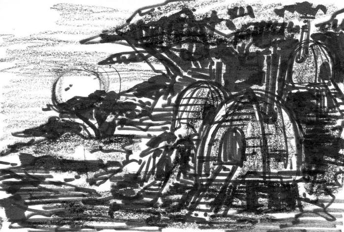 A brush pen and crayon sketch of a cluster of huts in front of a landscape at sunset.