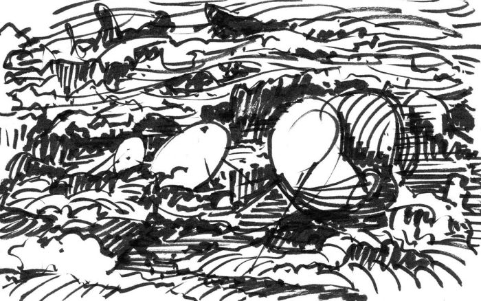 A loose brush pen sketch with random lines and marks that appear to be a landscape.