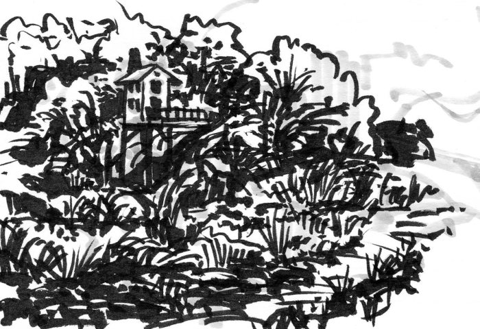 A brush pen and marker drawing of a elevated cabin in a wild landscape.