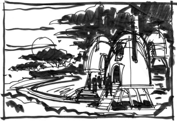 A brush pen and pen sketch of a cluster of huts in front of a landscape at dawn.